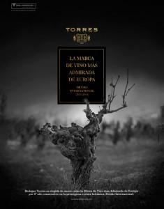 Bodegas Torres, considerada la marca de vinos europea más admirada por los profesionales del sector